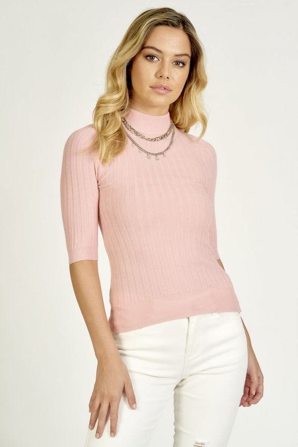 SHORT SLEEVE KNIT TOP (324535)