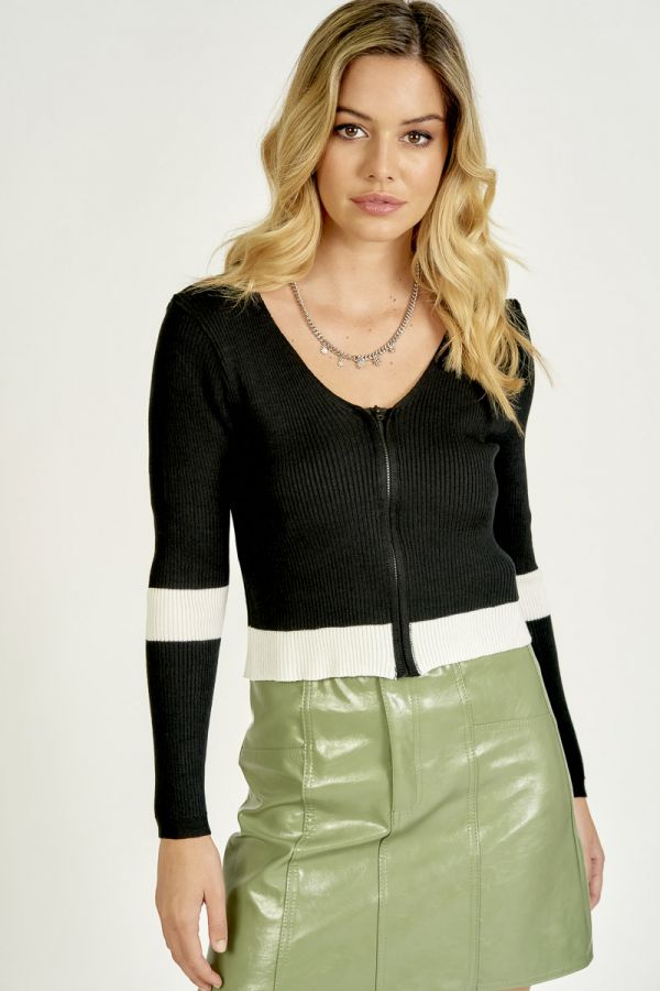 ZIP-UP COLOR-CONTRAST KNIT TOP (324550)