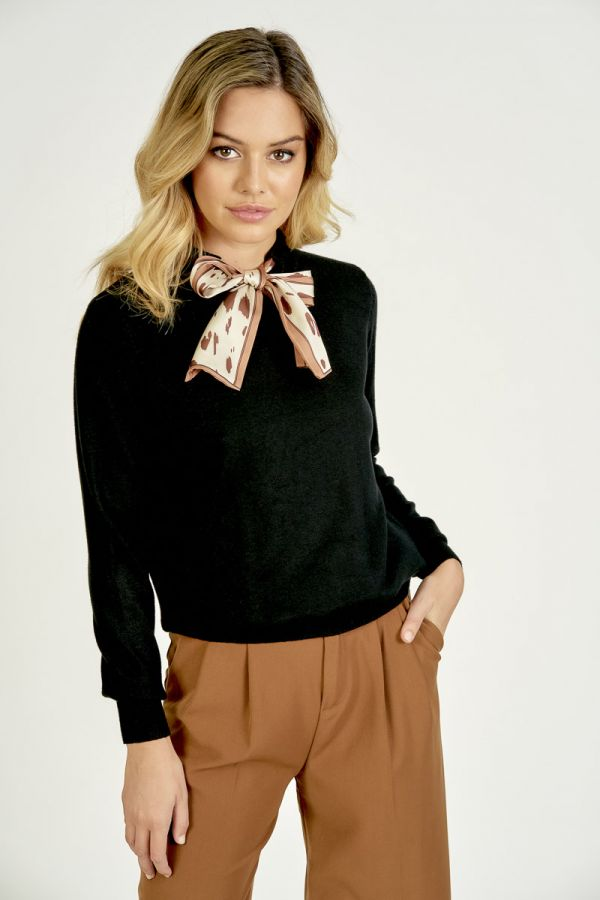 SCARF TIE-UP KNIT TOP (324551)