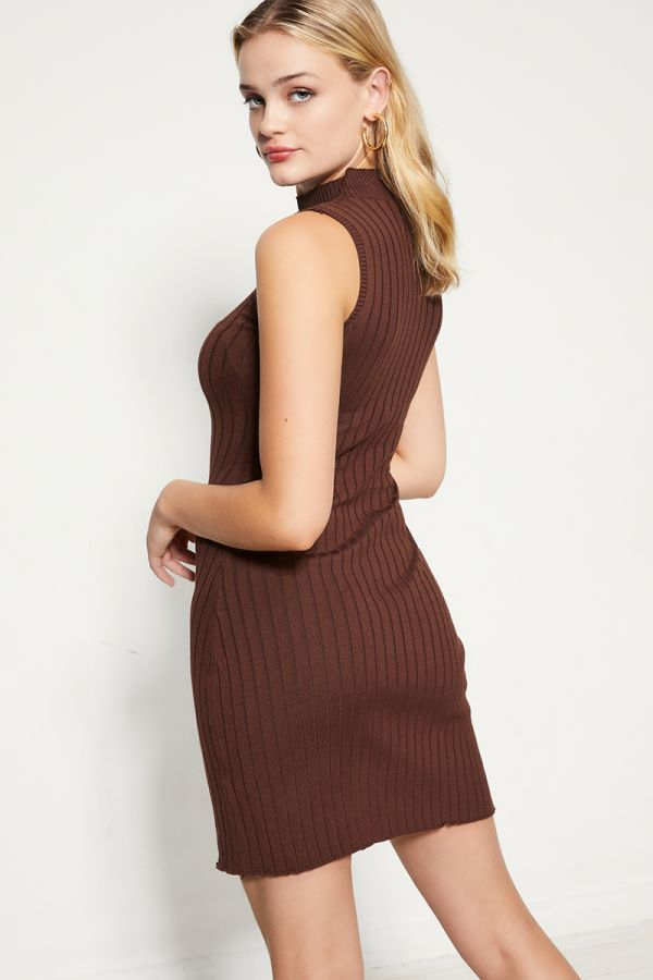 HIGH NECK SLIT HEM KNIT DRESS  (324553)
