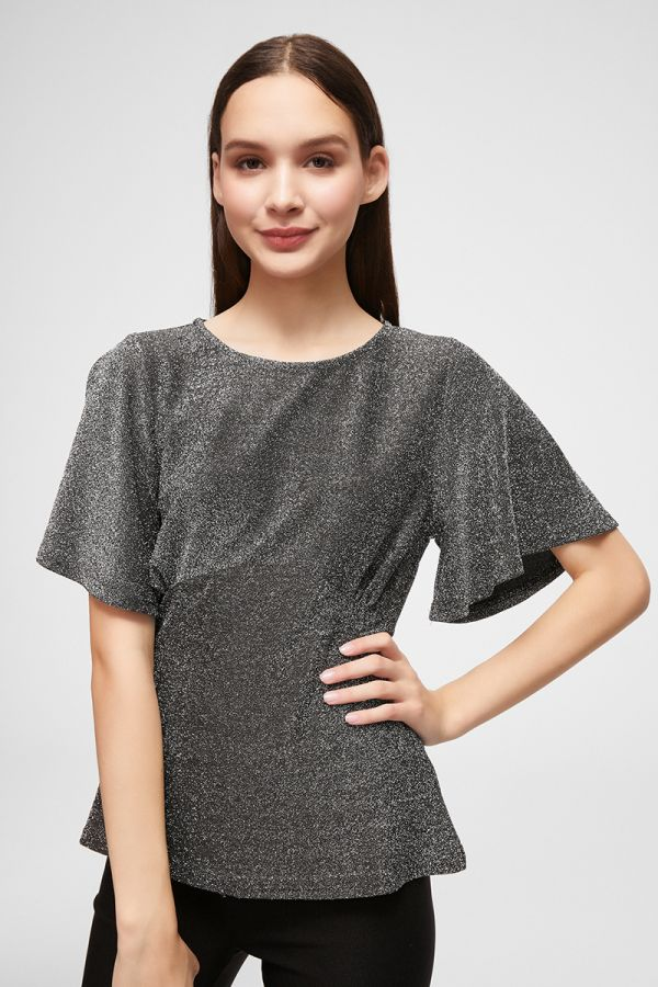 METALLIC BUST CUT WING SLEEVETOP (324555)