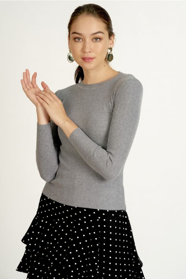 LONG SLEEVE KNIT TOP (324558)