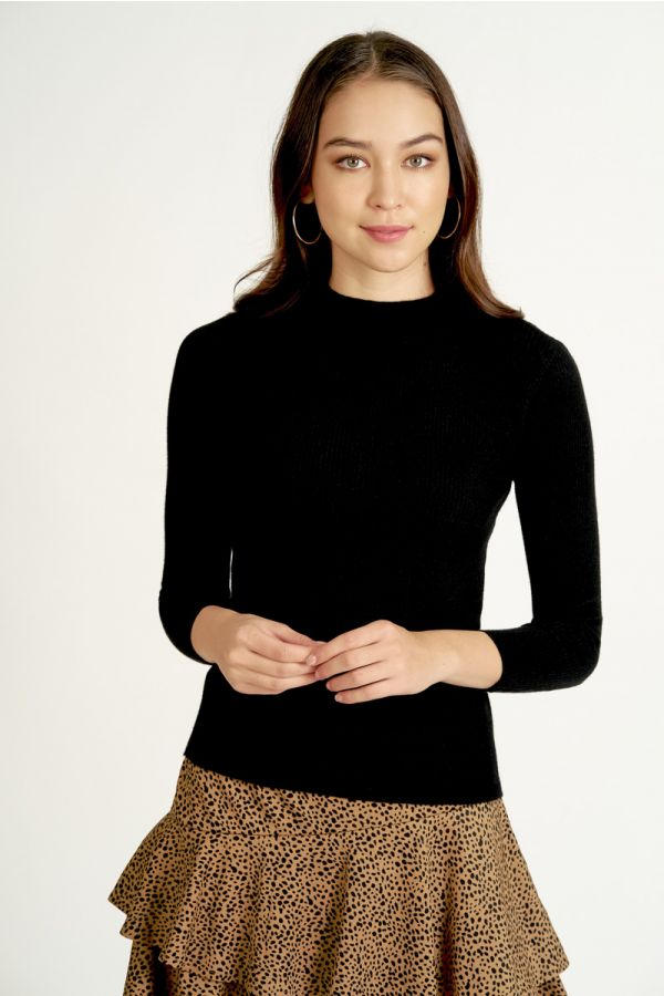 HIGH-NECK LONG SLEEVE KNIT TOP (324560)