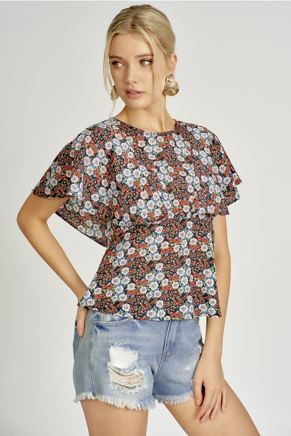 WINGED SLEEVE EMPIRE LINE TOP (324581)