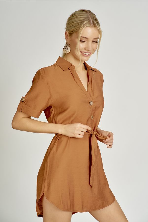 LONG TUNIC TOP WITH OPEN PLACKET AND COLLAR (324618)