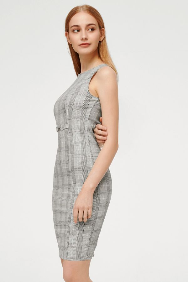 CHECK SLEEVELESS BODYCON DRESS (324657)