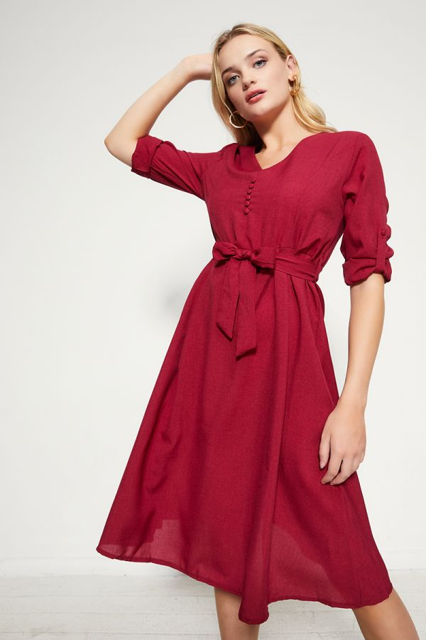 BUTTON DETAIL LINEN DRESS  (324666)
