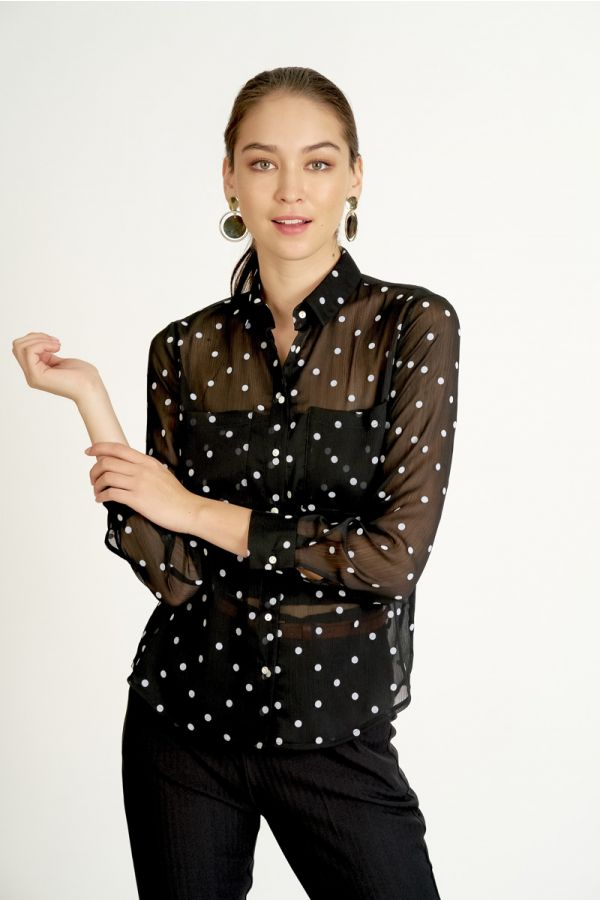 FLOCKED TEXTURED CHIFFON SHIRT (324699)