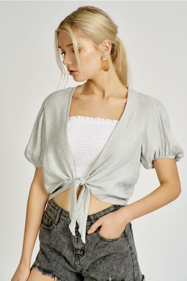 VOLUME SLEEVE TIE UP TOP  (324744)