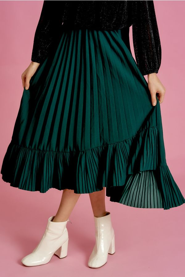 ASYMMETRICAL PLEATS SKIRT (324746)