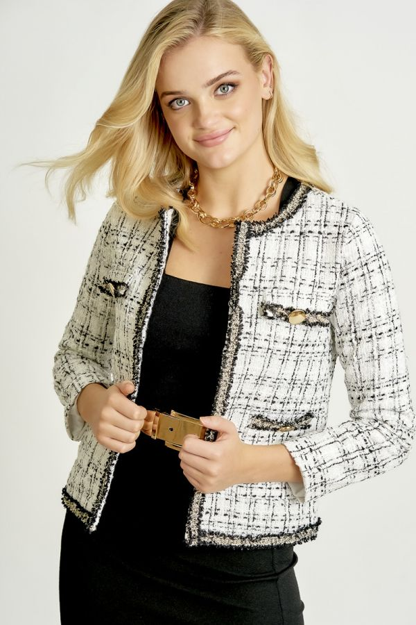 CHECKED TWEED JACKET (324747)