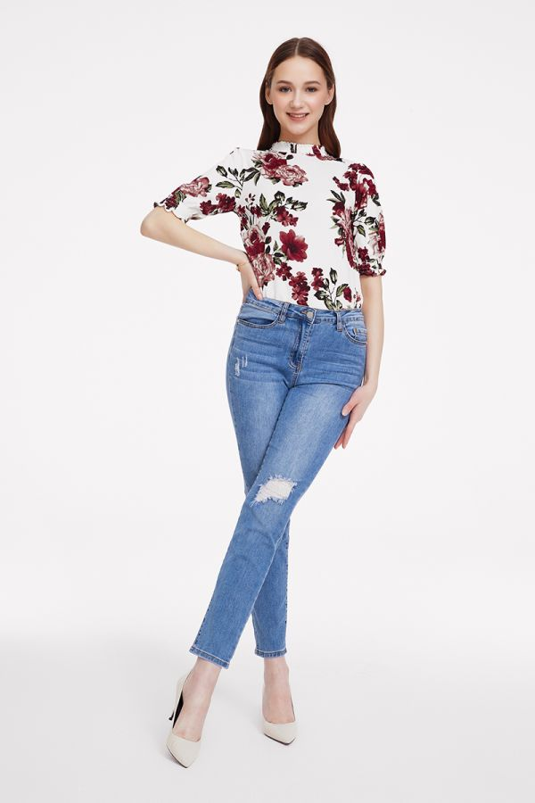 HIGH NECK FRILL SLEEVE TOP  (324750)