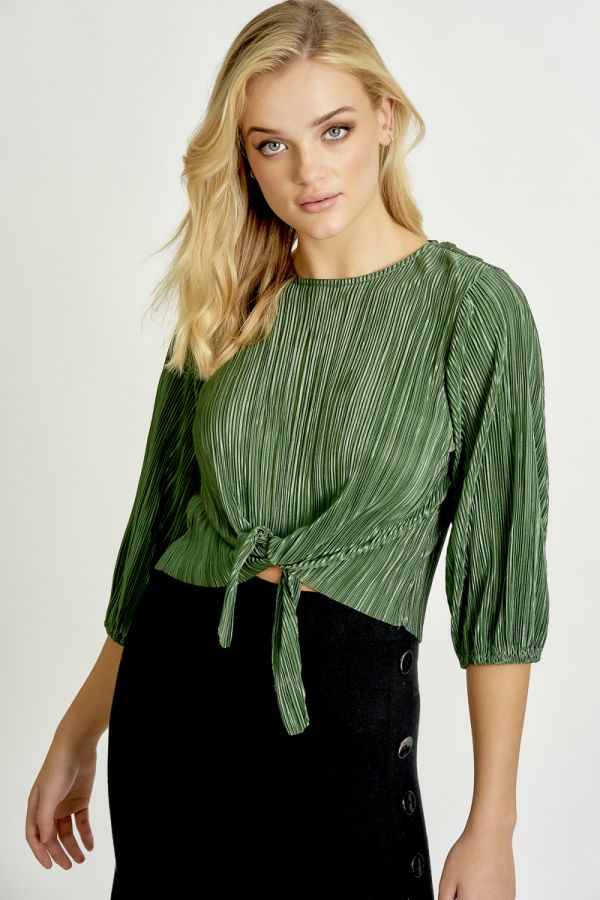 PLEATS TIE HEM TOP (324768)
