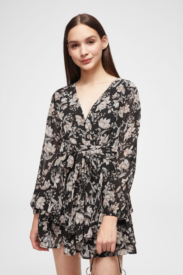 BALLOON SLEEVE CHIFFON PLAYSUIT (324776)