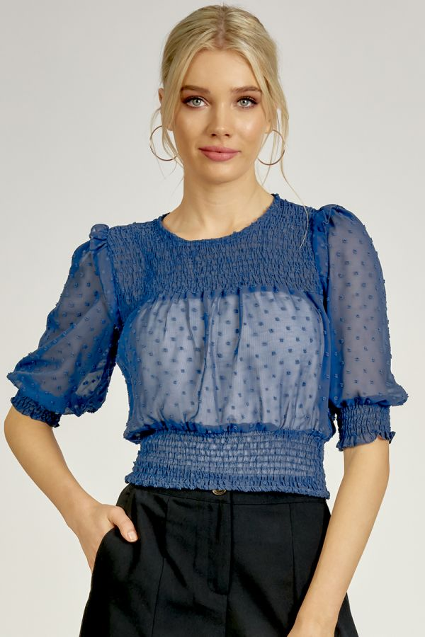 SMOCKING & FRILL DETAIL TOP (324787)