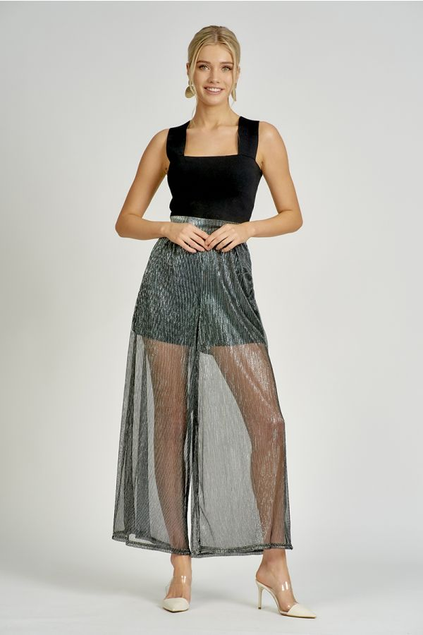 PLEATED LUREX WIDE PANTS  (324807)