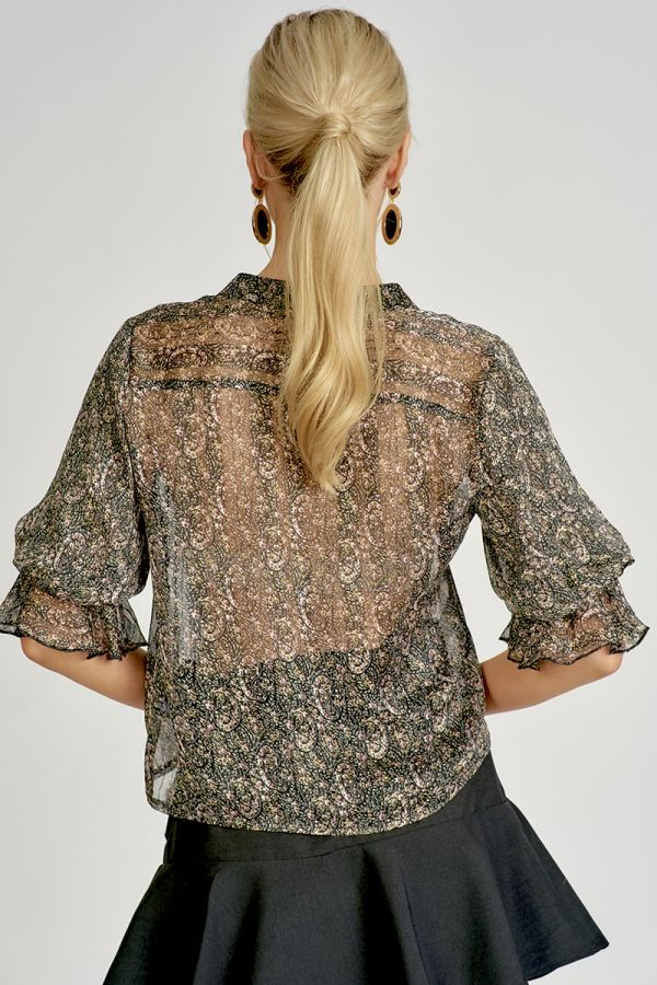VOLUME SLEEVE PAISLEY SHIRT (324822)