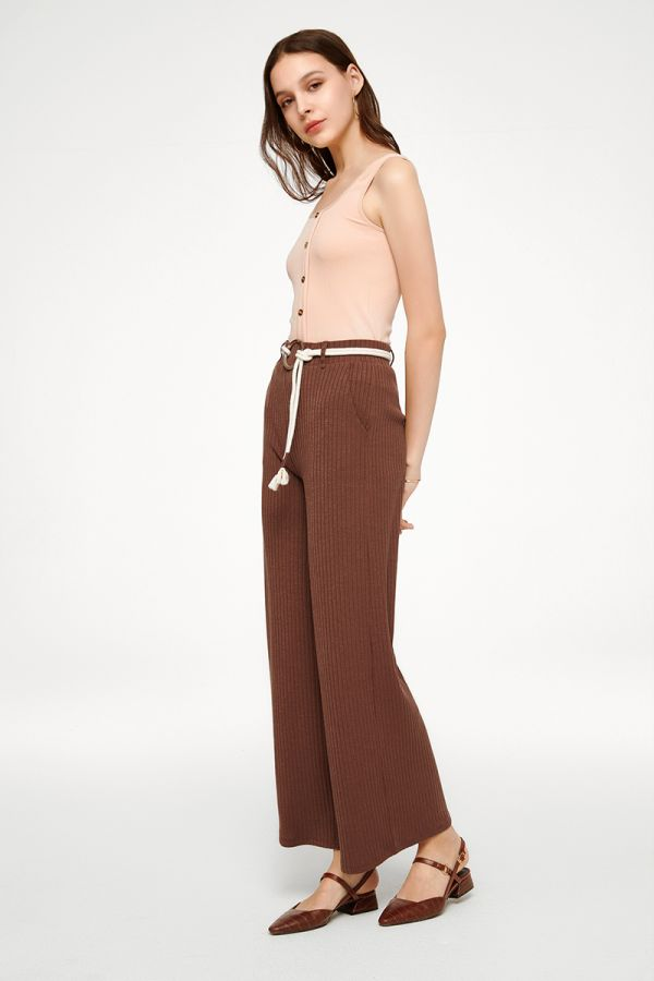 JUDITH WIDE LEG PANTS WITH BELT (324824)