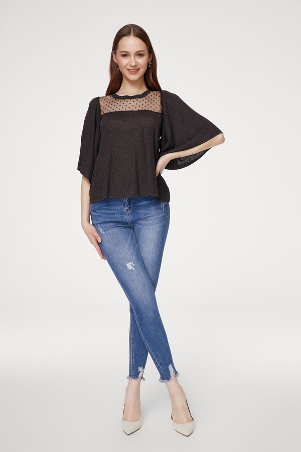 MASH MIXED WING SLEEVE KNIT TOP (324836)