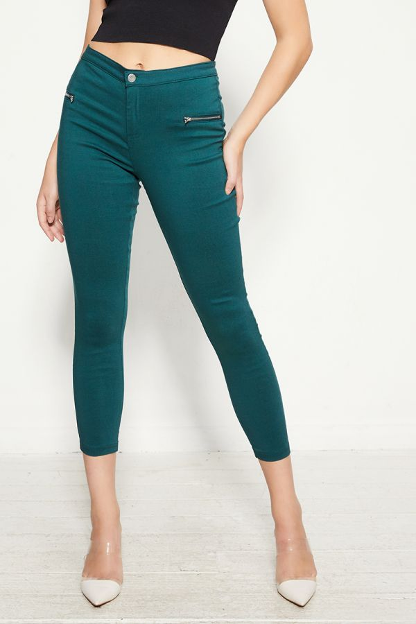 ZIPPER DETAIL SKINNY PANTS  (324845)