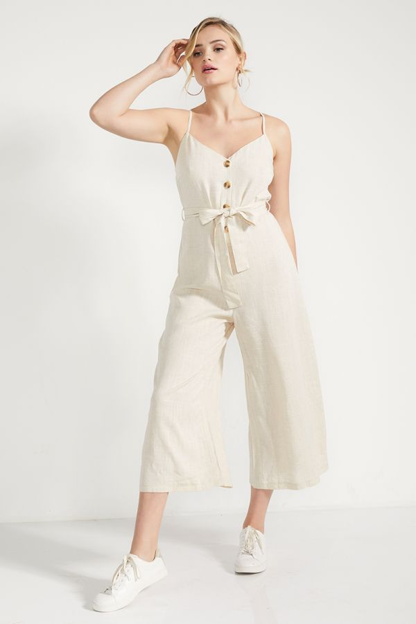 BUTTON DETAIL LINEN JUMPSUIT  (324874)