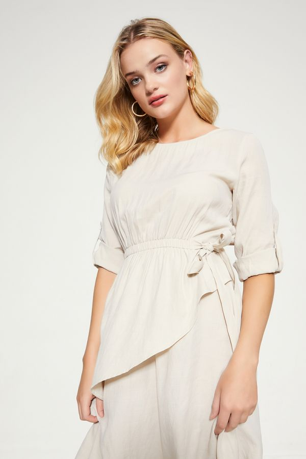 FIT AND FLARE LINEN DRESS (324902)