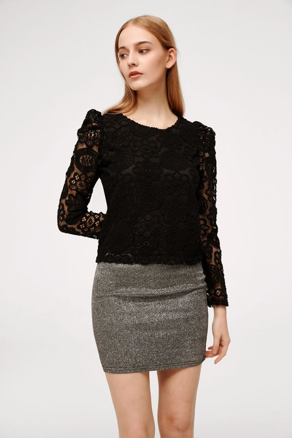 HENNA LONG SLEEVE LACE TOP (324908)