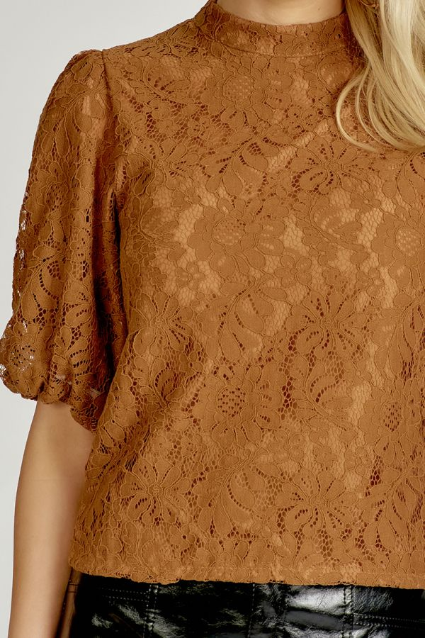 VOLUME SLEEVE LACE TOP (324942)