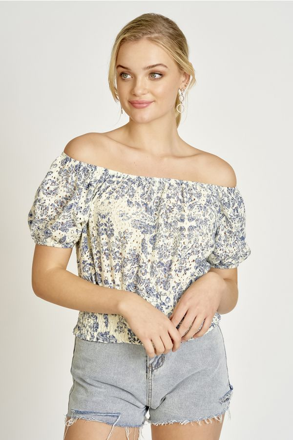 PRINTED LACE OFF-SHOULDER TOP  (324945)