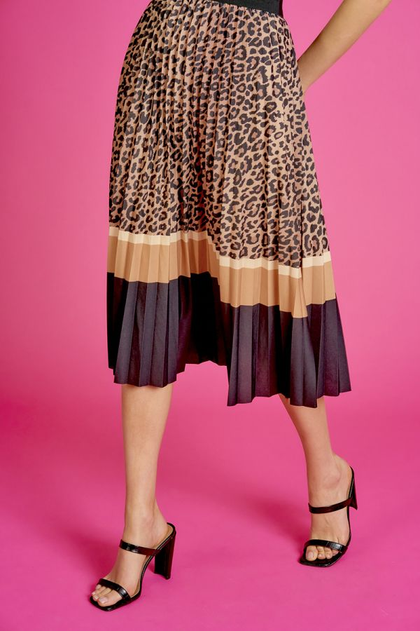 LEOPARD PLEATED MIDI SKIRT  (324949)