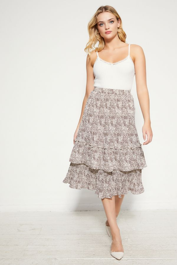 PLEATED TIERED SKIRT (324951)