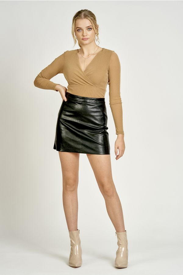 PANELLED PU SKIRT (324952)