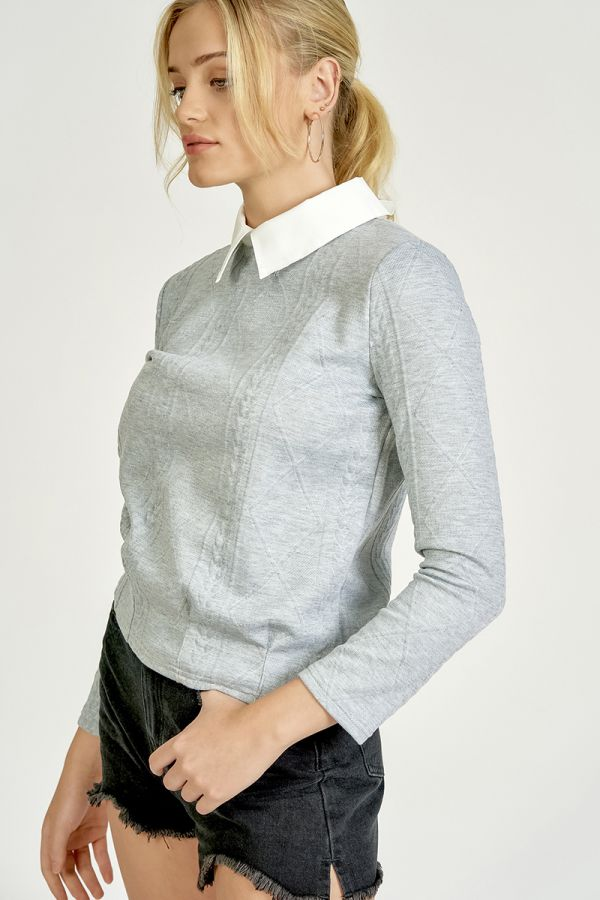 COLLAR COMBINED PATTERN TOP (324972)