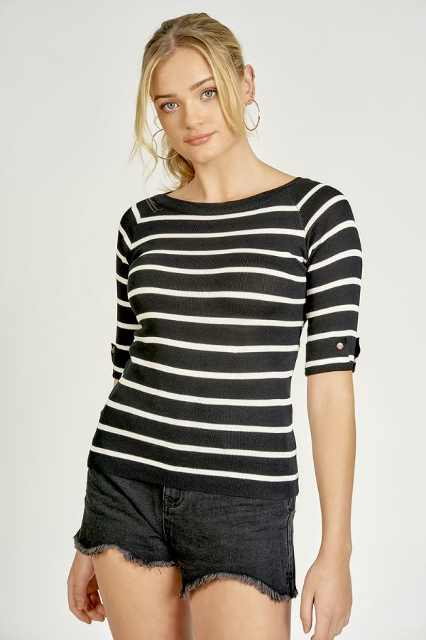 STRIPE KNIT TOP  (324982)