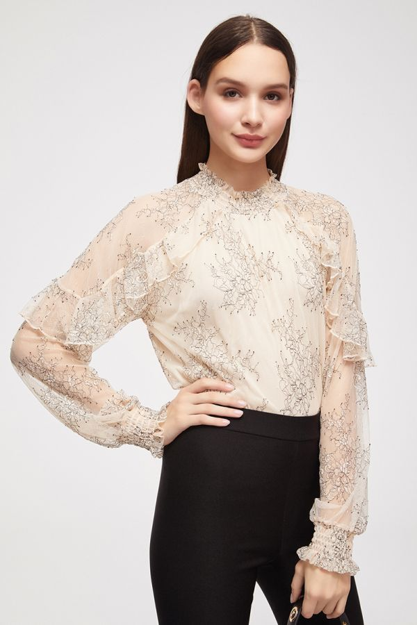 RUFFLE DETAIL LACE TOP (324985)
