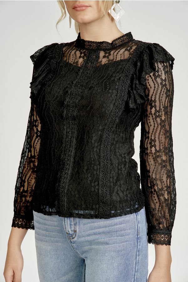 CROCHET TRIMMED LACE TOP (325010)