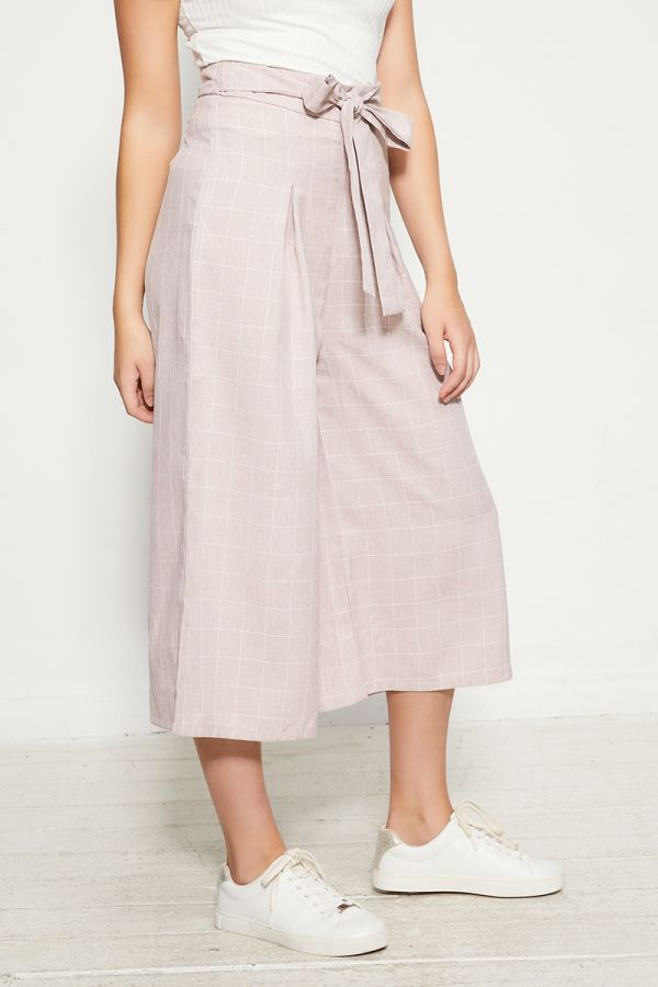 LINEN BELTED WIDE PANTS  (325026)