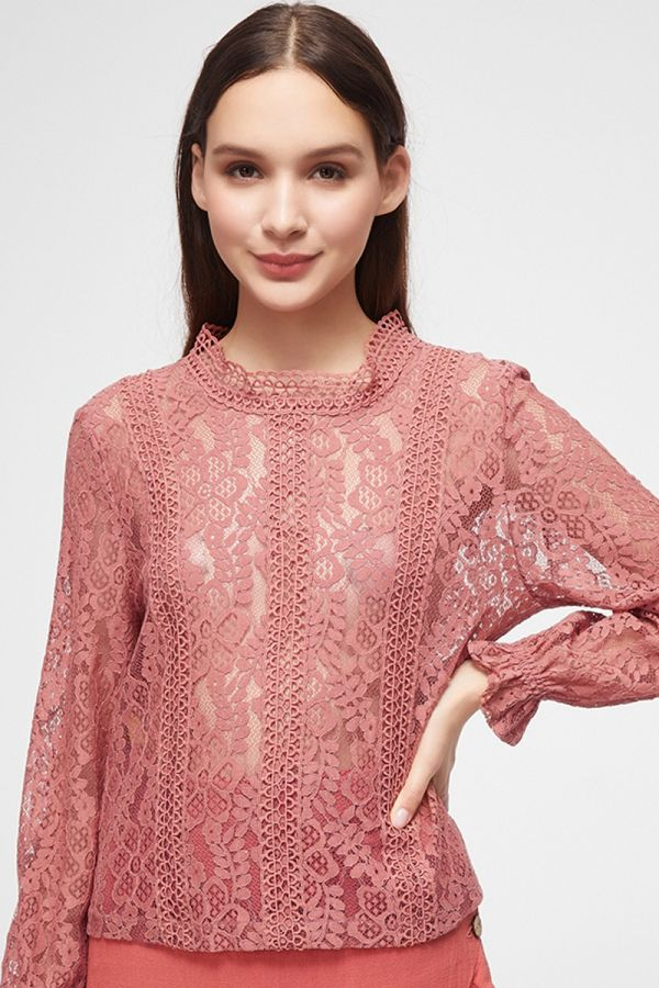 FRILL SLEEVE LACE TOP (325044)