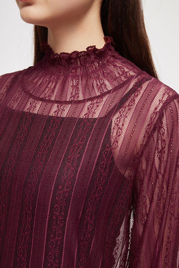 LACE SMOCKING HIGH NECK TOP  (325049)