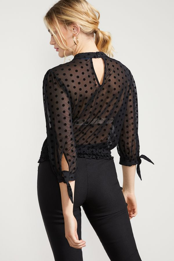 POLKA DOT MESH TOP  (325051)