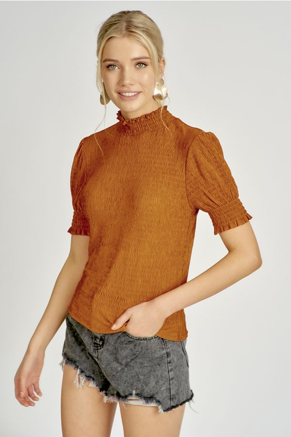 HIGH NECK BALLOON SLEEVE TOP  (325068)