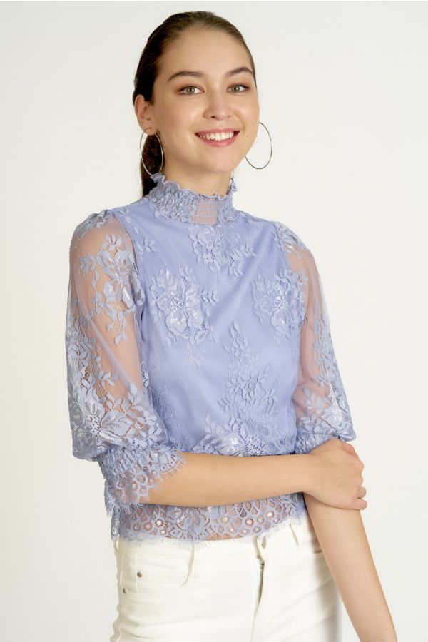 LACE BALLOON SLEEVE TOP (325071)