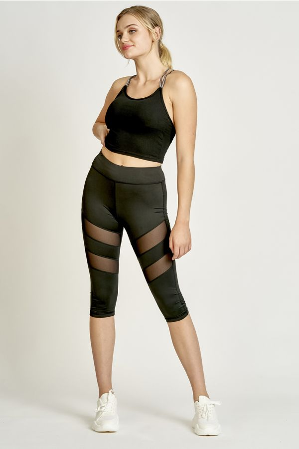 MESH PANEL 3/4 LEGGINGS (325082)