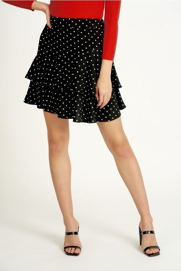 TIERED JERSEY MINI SKIRT (325103)