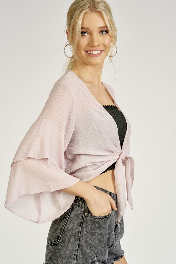 TIE UP DOUBLE FRILL SLEEVE CARDIGAN (325124)