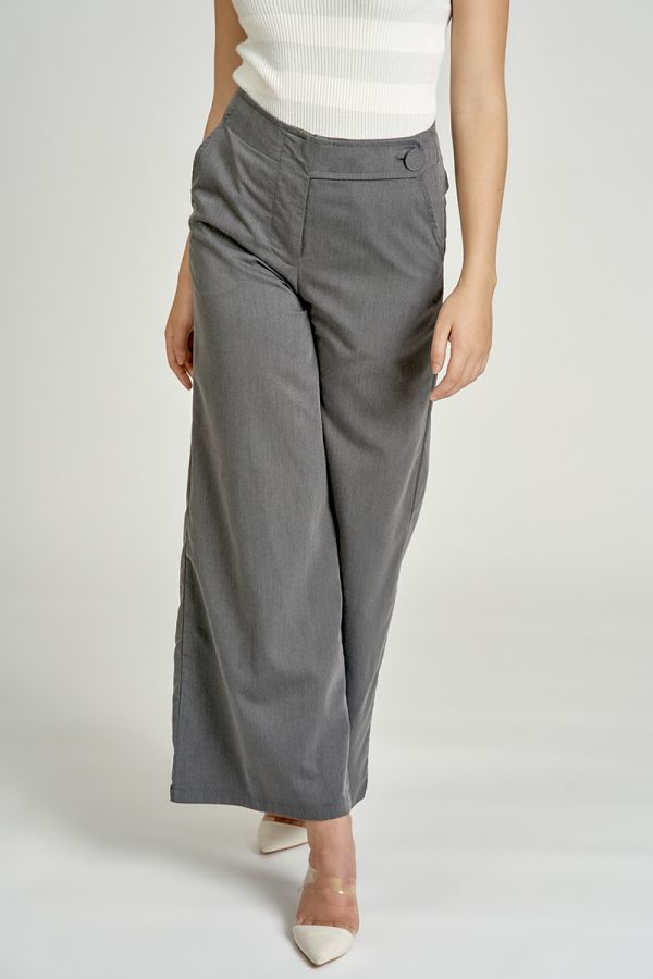 BUTTON WAIST BAND WIDE PANTS (325207)