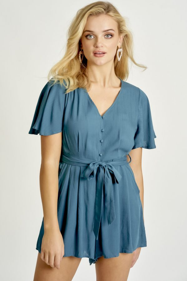 BUTTON DOWN LINEN PLAYSUIT (325210)