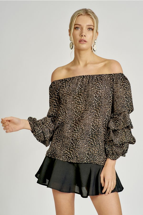 ANIMAL PRINT BALLOON SLEEVE OFF SHOULDER TOP (325240)