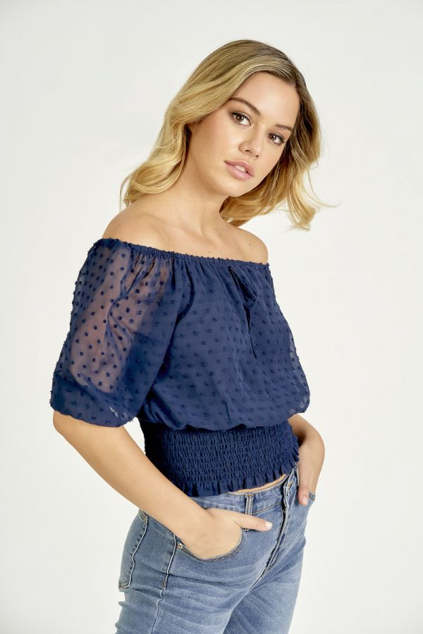PUFFY SLEEVE SMOCKED WAIST CROP TOP (325259)