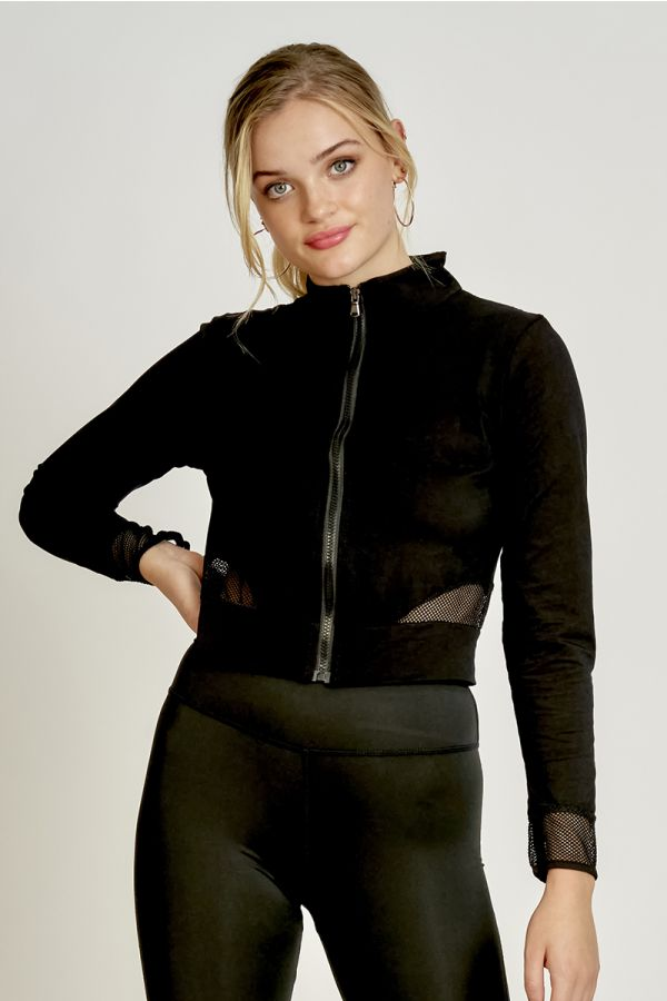 HIGH NECK MESH INSERTED JACKET  (325265)